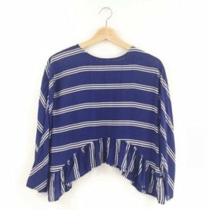 Zara Navy Stripe Top